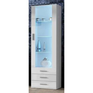 vitrine blanc laquer achat vente vitrine blanc laquer pas cher cdiscount. Black Bedroom Furniture Sets. Home Design Ideas