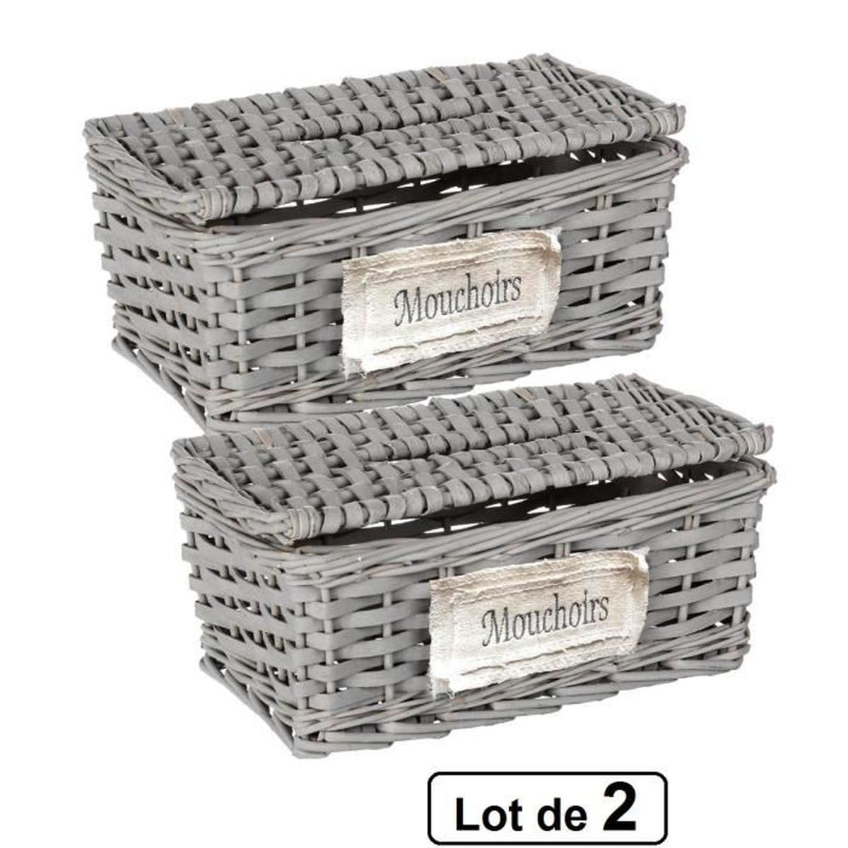 lot de 2 boites distributeurs mouchoirs en papier gris achat vente distributeur mouchoir. Black Bedroom Furniture Sets. Home Design Ideas