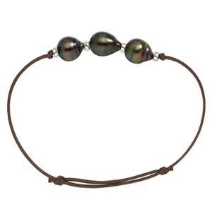 BRACELET - GOURMETTE Bracelet Perle de Tahiti A. Coton cire & Argent
