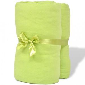 DRAP HOUSSE Magnifique 2 draps-housses vert pomme en jersey de