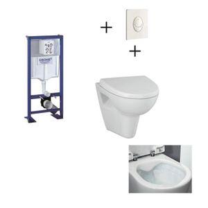 WC - TOILETTES GROHE Pack WC suspendu complet avec plaque blanche