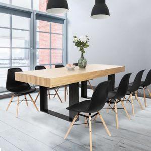 TABLE À MANGER SEULE Table à manger PHOENIX 224 CM bois et noir