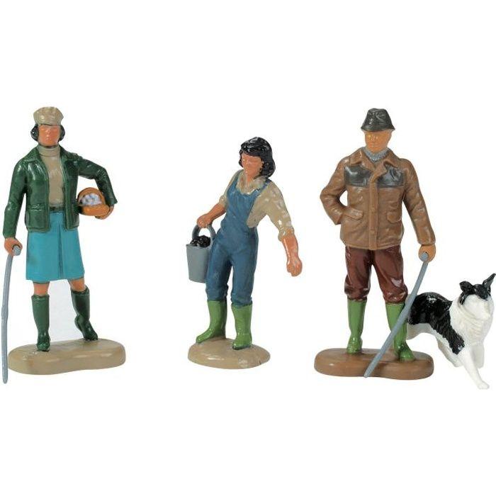 Lot de 4 figurines en plastique : 2 fermières, fermier, chien