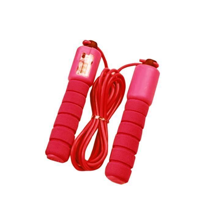 Corde à sauter avec Compteur Exercice Fitness réglable à vitesse rapide comptage sauter fil - Rouge