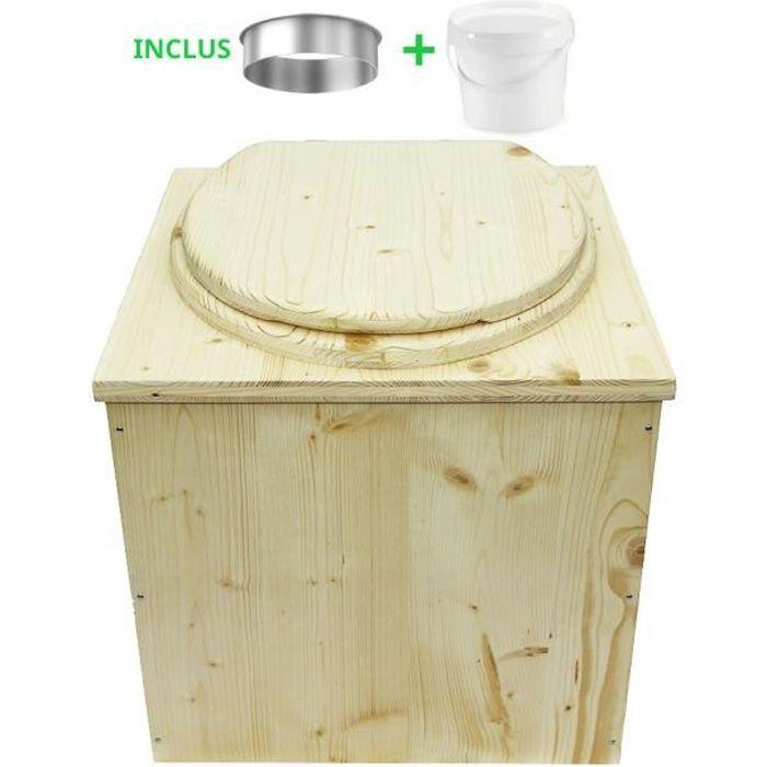 Toilette sèche en bois écologique - Livraison avec seau plastique alimentaire et bavette de protection inox
