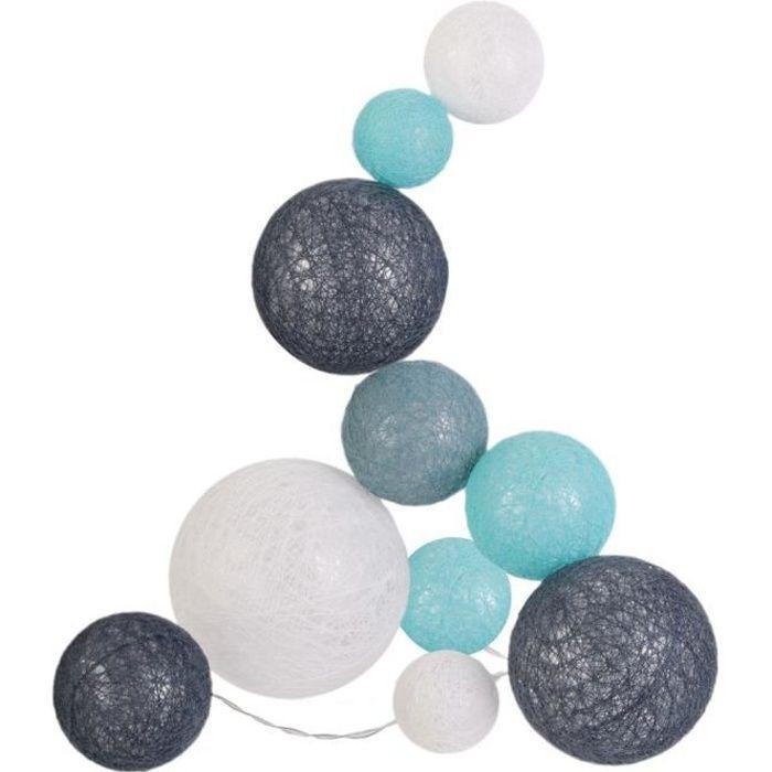Guirlande lumineuse boules colorées 10 leds multi-tailles Bleu, Gris, Blanc