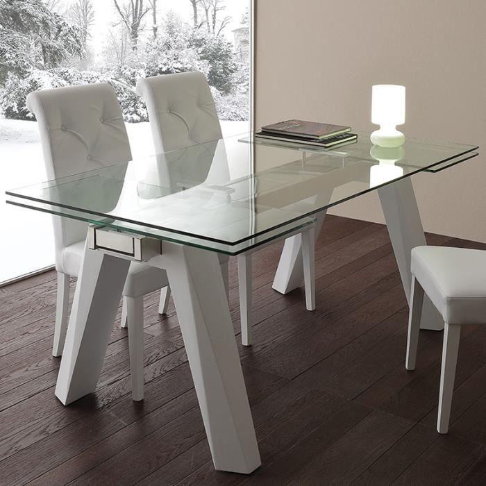 Table à manger extensible en verre et acier design CARLA