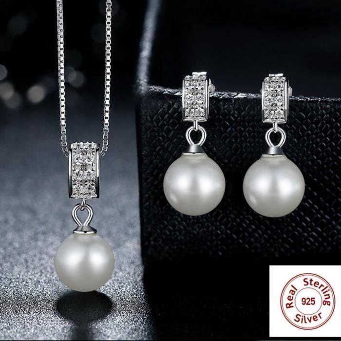 MERRILL Parure Régler bijoux Femme 4ps Swarovski Elements Cristal Platine Perles d'eau douce boucles d'oreilles + Collier pendenti