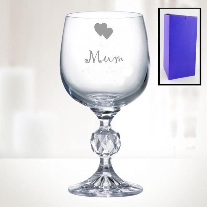 313ml - Bohemia Cristal - Vin Verre Avec Maman Cœurs - Coffret Cadeau Inclus