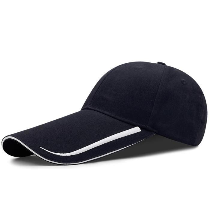 length 14cm navy 55-60cm -Casquette de Baseball à visière longue pour homme, chapeau de pêche, grande taille, décontracté, Cool, 55