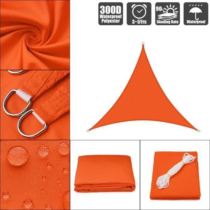 Triangle Voile D'Ombrage Orange Toile Solaire Imperméable Orange 12x12x12` - 3.6x3.6x3.6m Me47331
