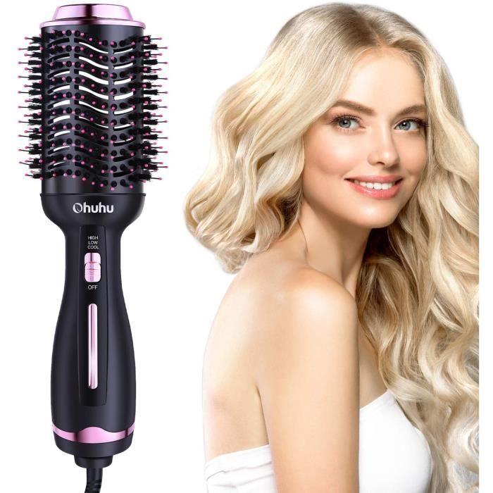 Brosse pour Sèche-cheveux, Brosse à Cheveux à air Chaud Ohuhu 4 en 1 Sèche-cheveux électrique Peigne Volumateur Avec ions Négatifs p
