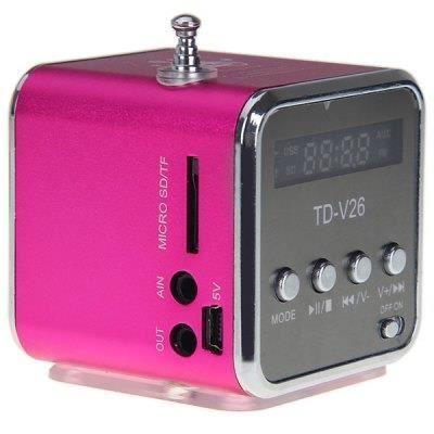 Mini Enceinte 4gb Rose MP3 USB MICRO SD FM