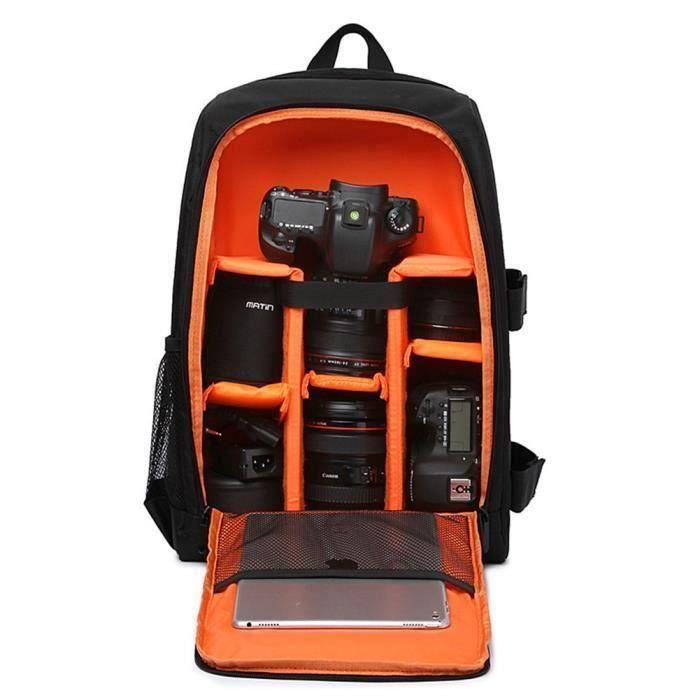 Weiqiao® Sac à Dos pour Appareil Photo Reflex Numérique et Ordinateur Portable Intérieur pour Canon Nikon Sony Olympus - Orange