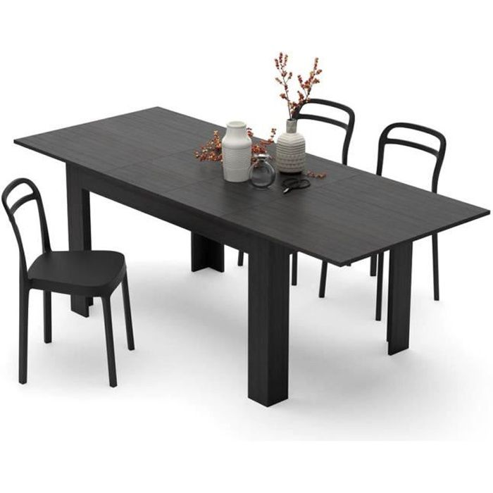 Mobili Fiver, Table extensible Cuisine, Easy, Frêne noir, Mélaminé, Made in Italy
