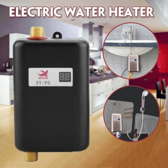 220V 3800W Mini chauffe-eau instantané électrique sans réservoir Salle de bains Cuisine Lavage EU Plug Noir -PAI