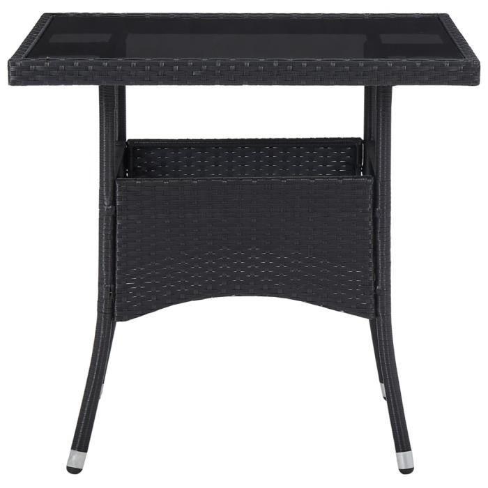 Mode 9008 Table de salle à manger Décor de 4 personnes - Table de jardin d'extérieur Noir Résine tressée et verre