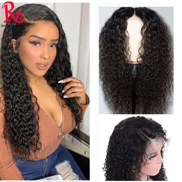 LUCKFEN 18- Perruque Cheveux Brazilian Humains Water Wave Vierges Couleur Naturel Pour Femme Lace Front Wig 18 Pouces