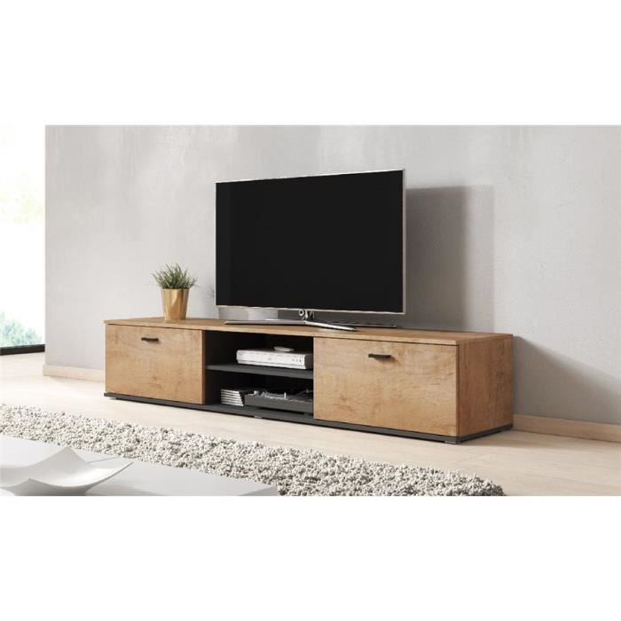 Meuble tv design SANO 180 CM - bois et gris