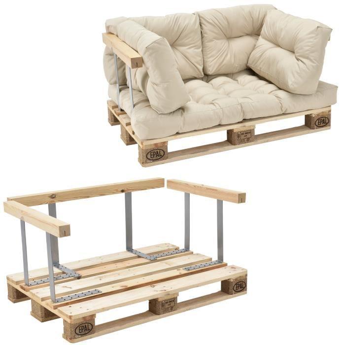 Canapé de palette euro- 2-siège avec coussins- [crème] kit complète incl. dossier et appuie-bras