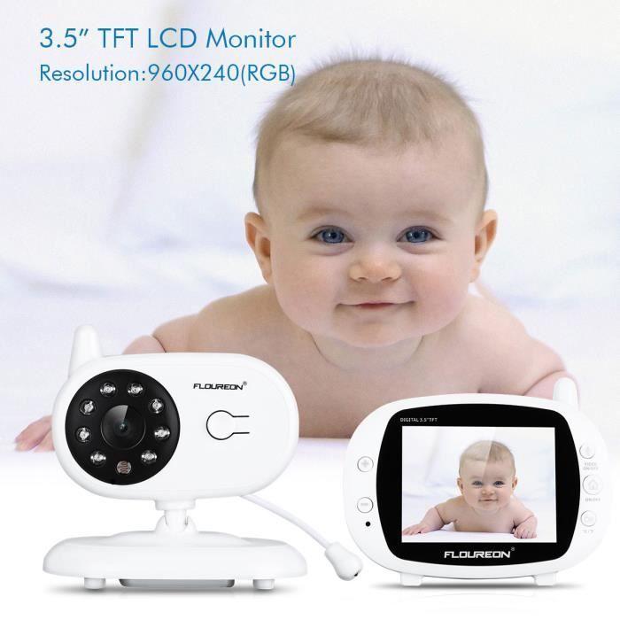 FLOUREON Bébé Moniteur caméra 3,5 Pouces,Rechargable Baby Phone Caméra Numérique de Sécurité Sans Fil,4 Berceuses Enregistrées,Gris