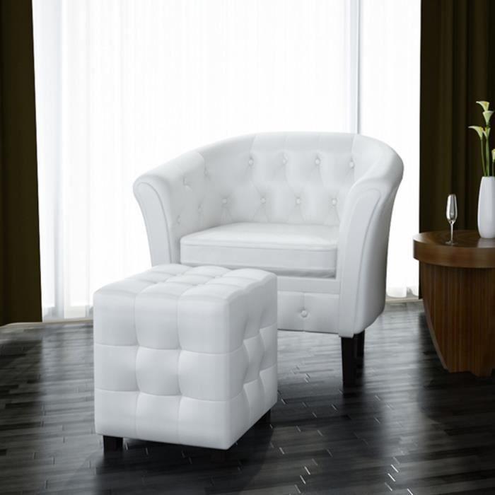 Fauteuil Chesterfield Blanc avec repose pieds design confortable stable dans Salon dormir reposer pratique