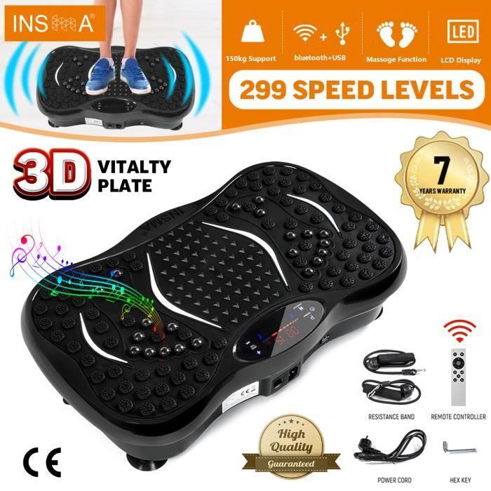 INSMA Plateforme vibrante oscillante Fitness Plaque de vibration 1-299 Vitesse avec Résistance bande Télécommande Bluetooth NOIR