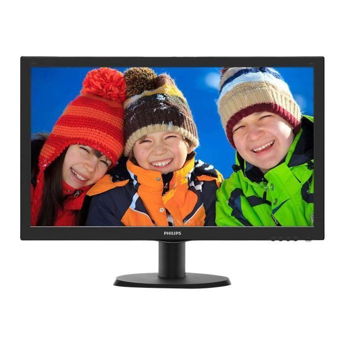 Philips V-line 243V5QHABA Écran LED 23.6- 1920 x 1080 Full HD (1080p) MVA 250 cd-m² 3000:1 8 ms HDMI, DVI-D, VGA haut-parleurs…