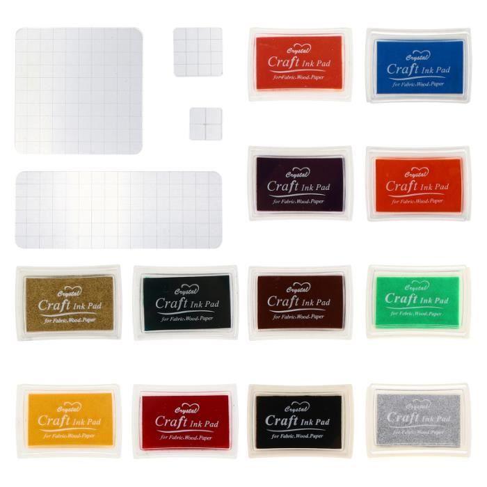 1 ensemble de 16 pcs acryliques estamping blocs bricolage tampon encreur professionnel - horodateur - dateur petit materiel