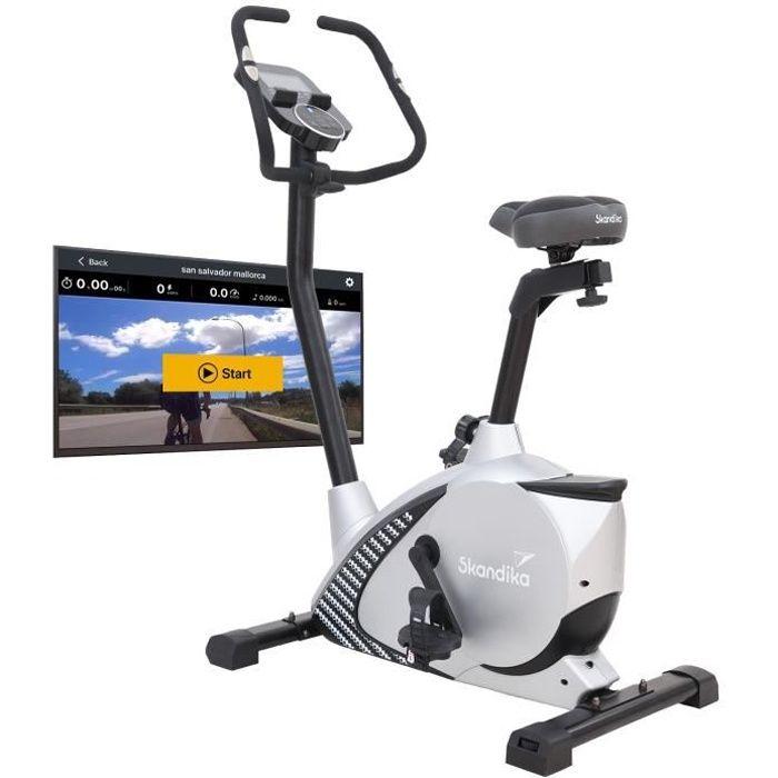 Skandika Glede - Vélo d'appartement ergomètre - Inertie 11 kg - 12 Progr. - Bluetooth - Contrôle par appli - Gris
