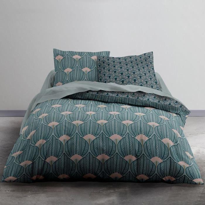 TODAY Parure de lit 2 personnes - 220 x 240 cm - Imprimé vert Floral CRAZY Nympheas