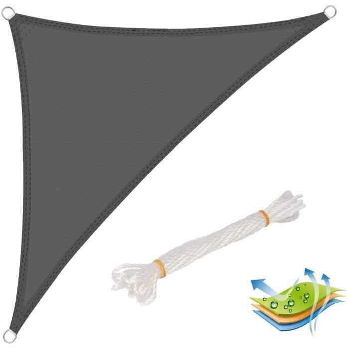 WOLTU Voile d'ombrage triangulaire en polyester, Protection contre le soleil pour jardin ou camping,2.5x2.5x3.5m Gris