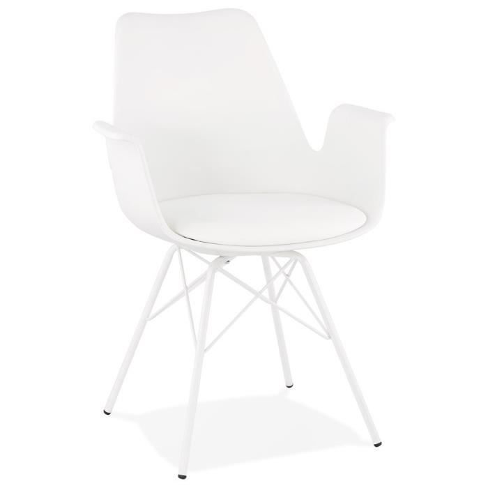 Chaise Style Avec Achat Accoudoirs 'saly' Industriel Blanche fYb76gvy