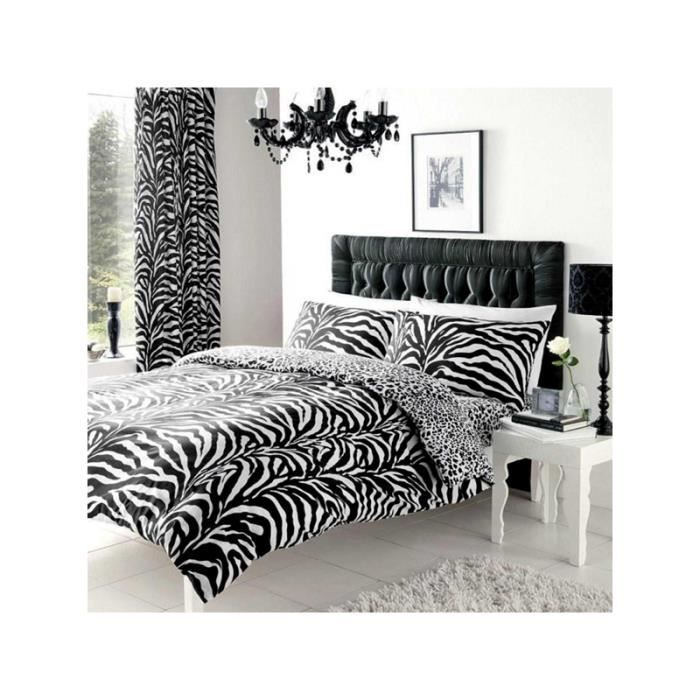 housse de couette z bre et l opard 2 pers lit 140 cm achat vente housse de couette. Black Bedroom Furniture Sets. Home Design Ideas