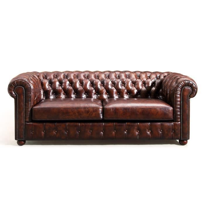 Canap chesterfield en cuir rose moore achat vente for Canape chesterfield cuir