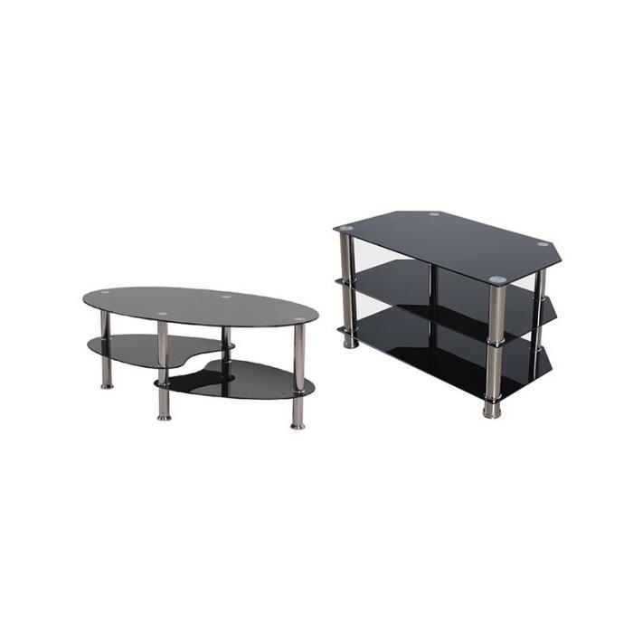 table basse 3 plateaux en verre tremp noir 6 mm pour le. Black Bedroom Furniture Sets. Home Design Ideas