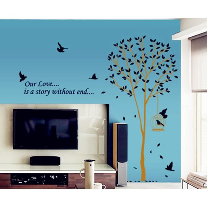 sticker arbre noir achat vente pas cher. Black Bedroom Furniture Sets. Home Design Ideas