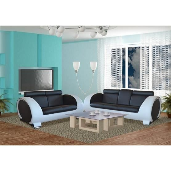 ensemble de canap 3 2 n a ii noir et blanc achat vente canap sofa divan cdiscount. Black Bedroom Furniture Sets. Home Design Ideas