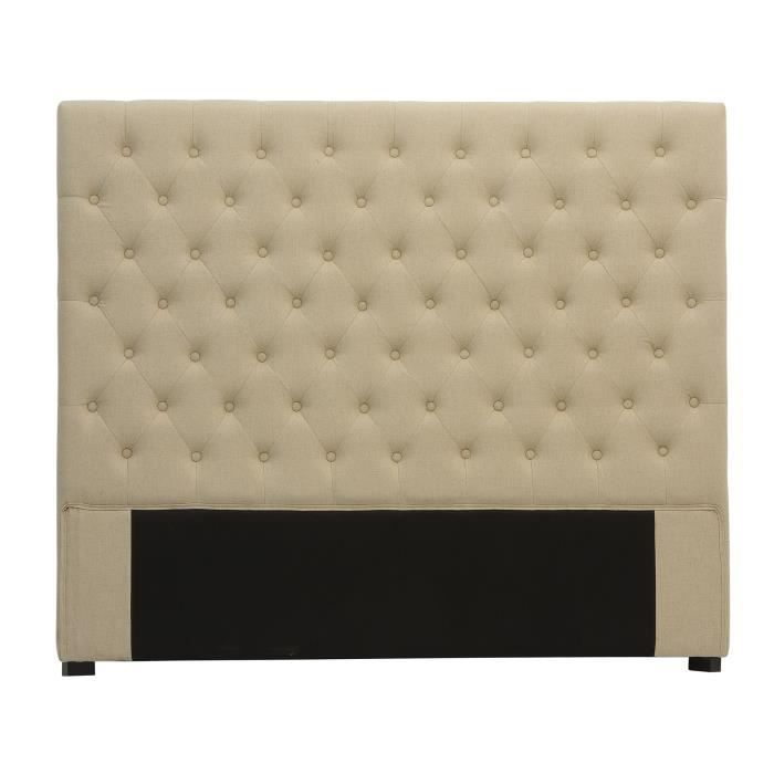 t te de lit capitonn e 160 cm lin beige am lie achat vente t te de lit cdiscount. Black Bedroom Furniture Sets. Home Design Ideas