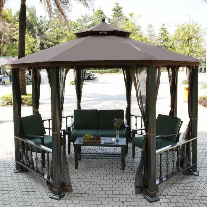 homdox kiosque gazebo tonnelle parasol enti rement ferm. Black Bedroom Furniture Sets. Home Design Ideas