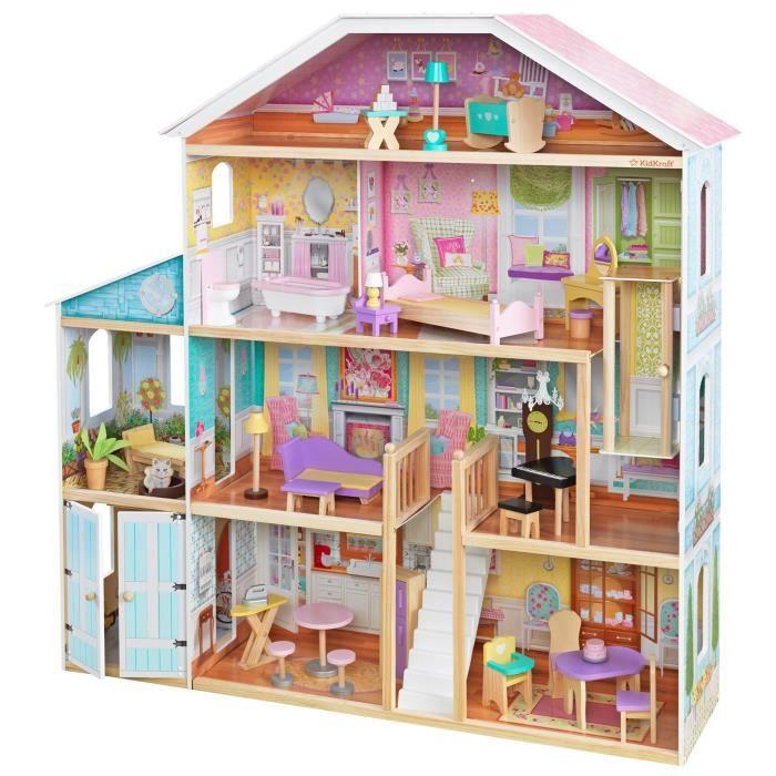 KidKraft - Maison de poupées en bois Grand View - 8 - 8 accessoires  inclus - pour poupées 8 cm - assemblage EZkraft