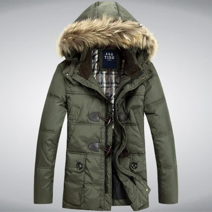 parka homme longue veste doudoune manteau homme army green achat vente parka cdiscount. Black Bedroom Furniture Sets. Home Design Ideas