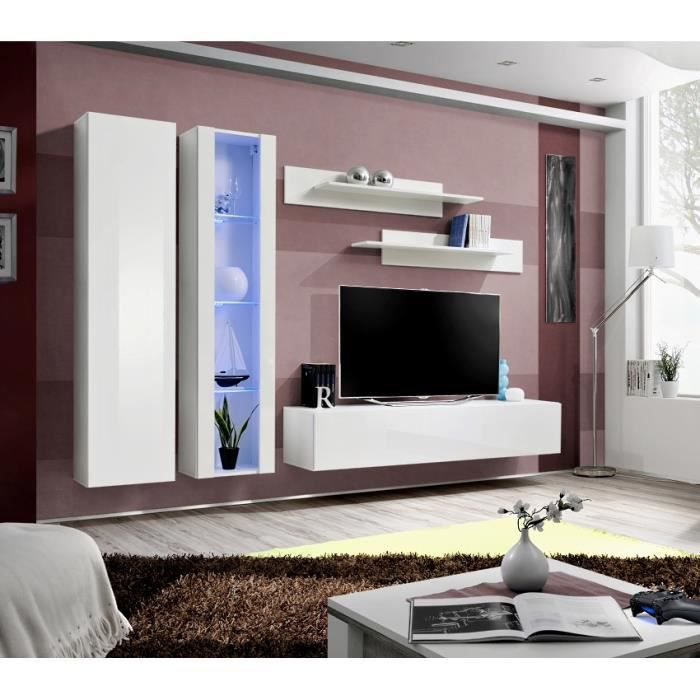 Meuble de salon tv suspendu flix a4 moderne 260 cm blanc for Meuble 5 etoile salon