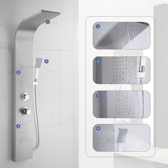 Colonne de douche,Syst/ème de douche Panneau en Acier Inoxydable avec jets de massage,Douchette /à main,Cascade et douche effet pluie Acier Inoxydable Blanc