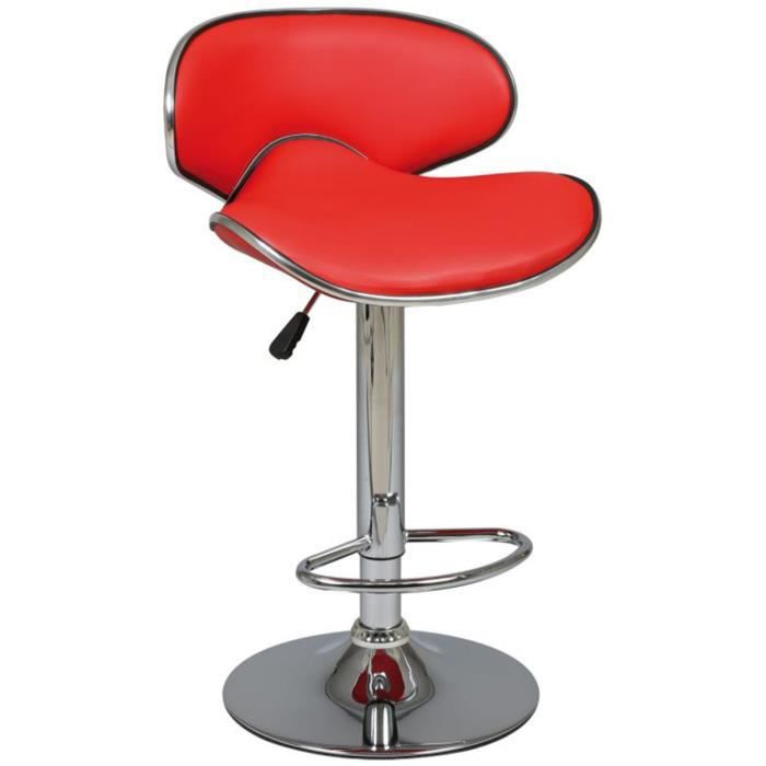 tabouret de bar rouge assise en pvc x p achat vente tabouret de bar pvc acier. Black Bedroom Furniture Sets. Home Design Ideas