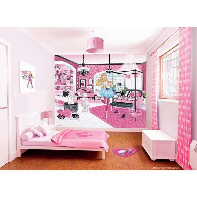 papier peint mural barbie walltastic achat vente. Black Bedroom Furniture Sets. Home Design Ideas