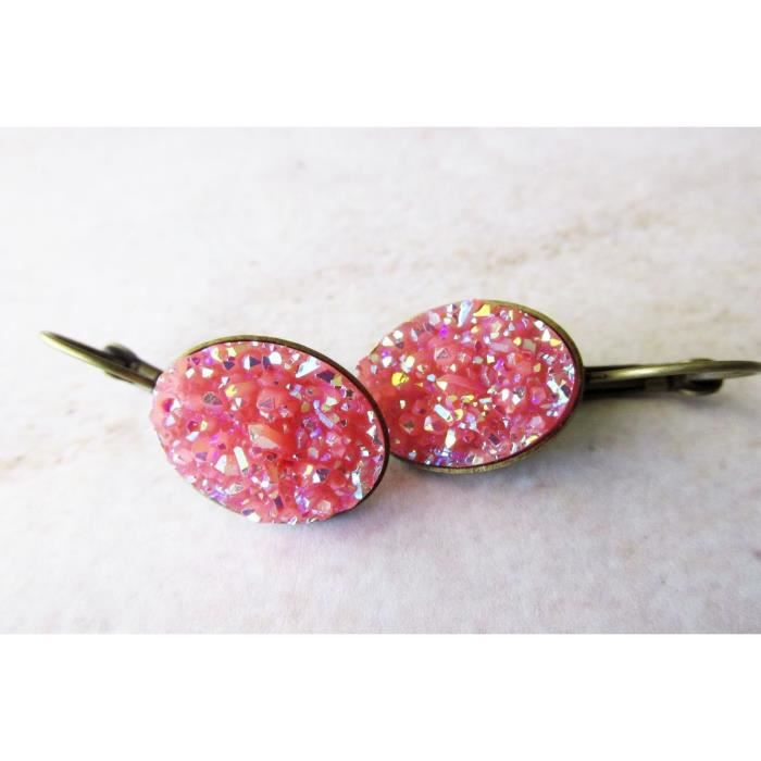 Womens Bubble Gum Pink Faux Oval Druzy Lever Back Drop Handcrafted Earrings. Antique Brass PM0XG