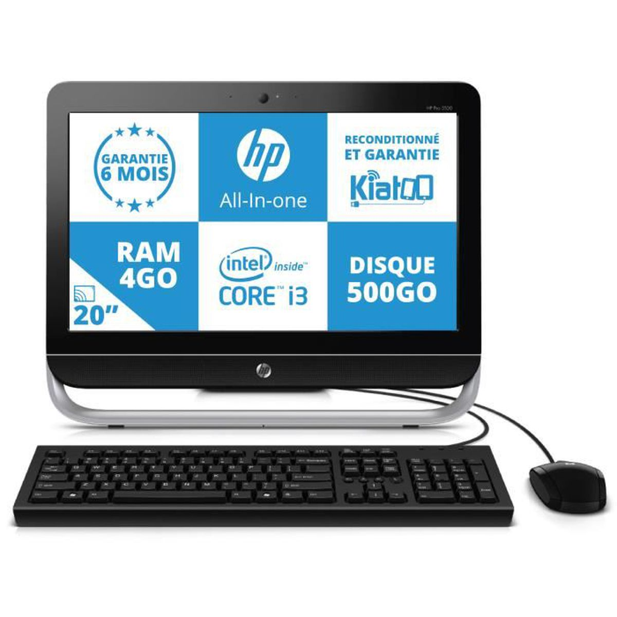 ordinateur de bureau tout en un hp all in one pro 3520 intel i3 4go ram 500go dique dur