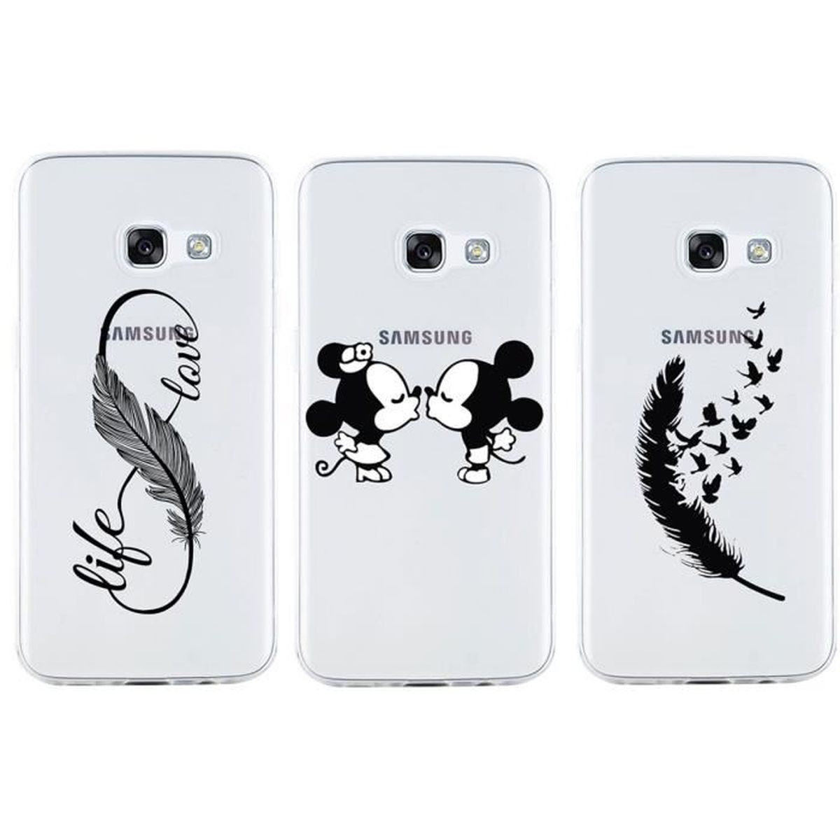 3 x transparent pour samsung galaxy a3 2017 coque noir mickey mouse plume etui silicone housse. Black Bedroom Furniture Sets. Home Design Ideas