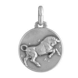 PENDENTIF VENDU SEUL Médaille Argent zodiaque taureau